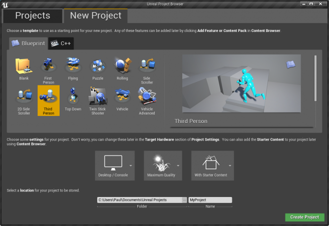 Project creation UI.